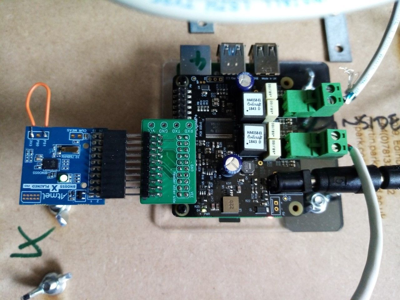 Bosch BNO055 9DOF sensor attached to Raspberry Pi and IQaudio amplifier, image by Martin Parker