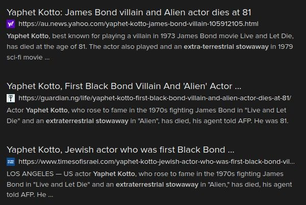 Screen capture of a search on Yaphet Kotto's death showing several sites with exactly the same error as the BBC.