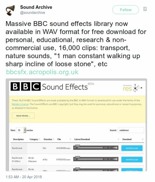 A screen capture of a Tweet by the British Sound Archive about the BBC releasing 16000 of their Sound Effects under a Non-Commercial Licence