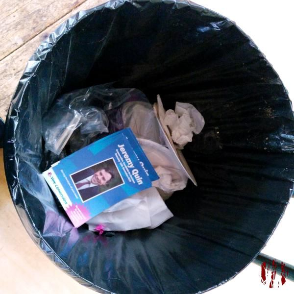 A Conservative Party leaflet in support of their candidate Jeremy Quinn - in a bin.