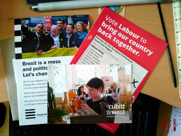 The aforementioned leaflets, for Labour and No Change UK, plus one for an Estate Agents.