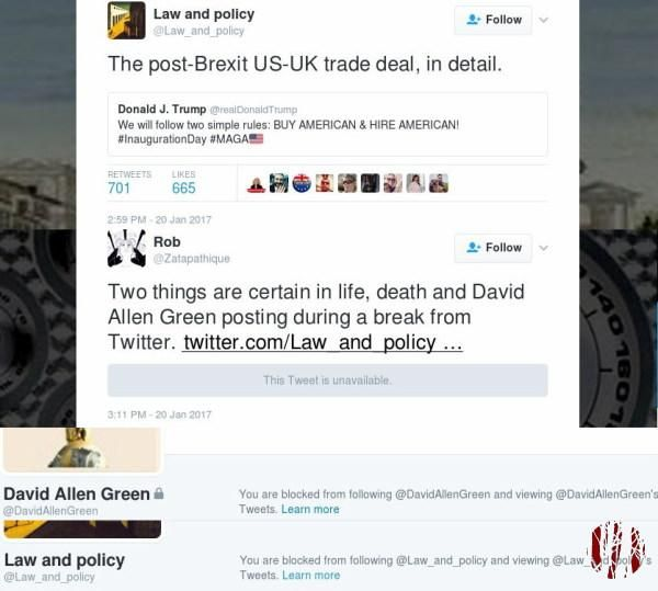 Screen captures of tweets where I jokingly refer to David Allen Green always posting after he says he's on a break for which he blocked my account.