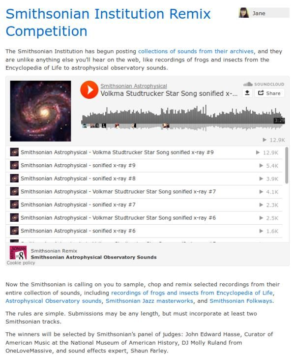 Screen capture of the SoundCloud blog introducing the competition in case it should disappear at a later date.