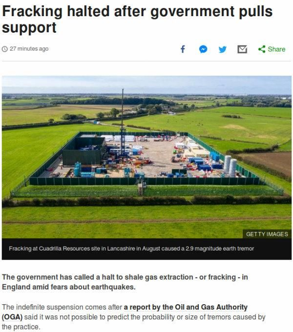 A screen capture of a page on the BBC News website about the suspension of fracking.