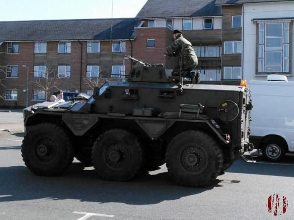An 1970s vintage armoured car parked in the car park behind the Drill Hall.