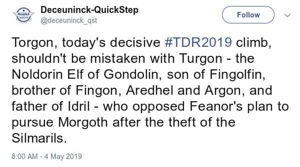 Screen capture of a tweet from the Quickstep cycling team helpfully explaining that today's decisive climb at the Tour of Romandie, Torgon, shouldn't be confused with Turgon the Tolkein character.