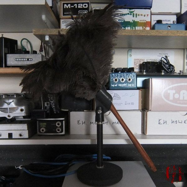 An ostrich feather duster the handle of which is slide into the clip of a desk top microphone stand.
