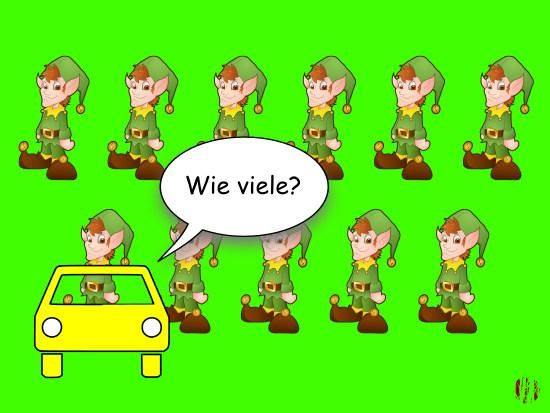 """A cartoon car in front of eleven elves asks, """"Wie viele?""""."""
