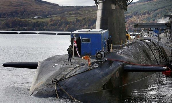 A portacabin plonked on the front of a Trident nuclear powered and missile carrying submarine.