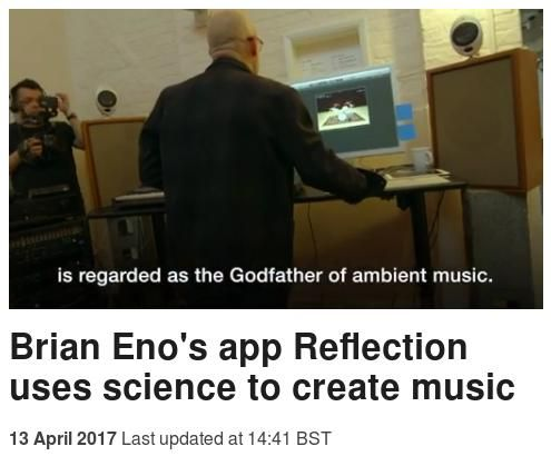Screen capture of a BBC website story about Brian Eno 'using science' for his latest application