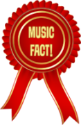 Rosette in red with 'Music Fact' on it in gold