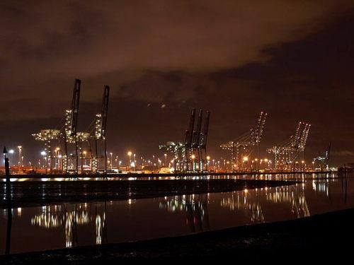 Southampton Container Port looking very pictuesque at night with lights from the cranes shining on the water