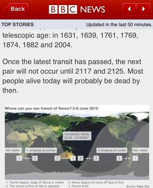 BBC article on the transit of Venus in 2012 suggesting most people will probably be dead by the next one in 2117.
