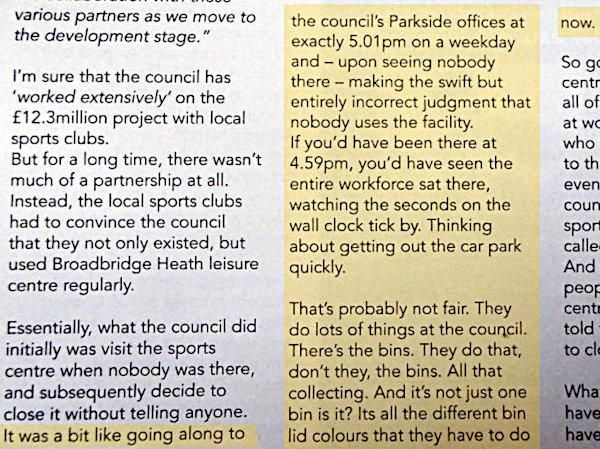 The article referred to in the text suggesting that the only worthwhile thing the Council do is empty the bins and that the staff are all work shy layabouts.