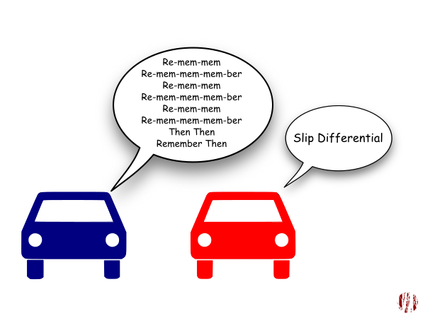 """One cartoon car sings to the other, """"Re-mem-mem, Re-mem-mem-mem-ber Re-mem-mem, Re-mem-mem-mem-ber, Re-mem-mem, Re-mem-mem-mem-ber, Then Then, Remember Then"""" to which the other replies, """"Slip differential"""". Which will make sense if you've been following along."""