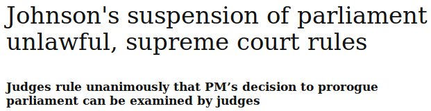 A headline showing that the UK Supreme Court has found that the Prime Minister had acted unlawfully over the prorugation of Parliament.