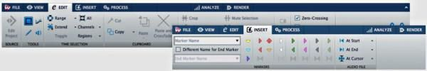 The new menus of Wavelab audo editing software using the awful Microsoft style ribbon layout.