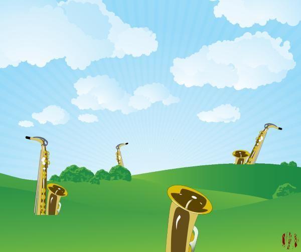 A very bad cartoon of saxophones growing in a field