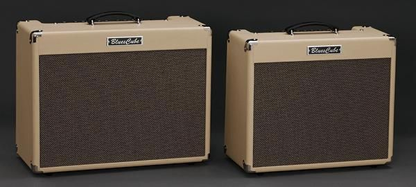Photo of two Roland Blues Cube guitar amplifiers neither of which are square.