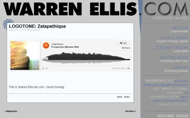 Screen capture from Warren Ellis's website showing my attempted logotone