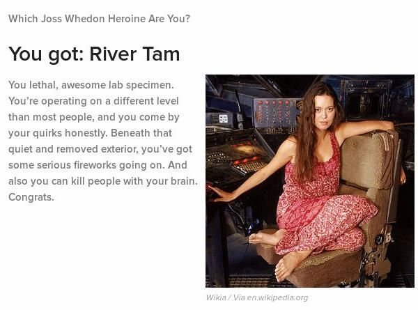 Screen capture of the results of the quiz with the conclusion I am most similar to River Tam
