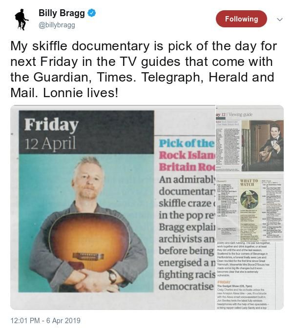 Screen capture from Twitter of Billy Bragg mentioning his skiffle documentary.