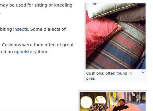 Screen capture from the Wikipedia page on Cushions including a picture of a number of them with the caption, 'Cushions: often found in piles'. Well I thought it was amusing.