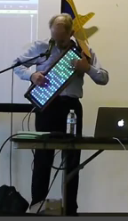 Roger Linn plays his invention the Linnstrument which hung across his chest is reminiscent of a washboard.