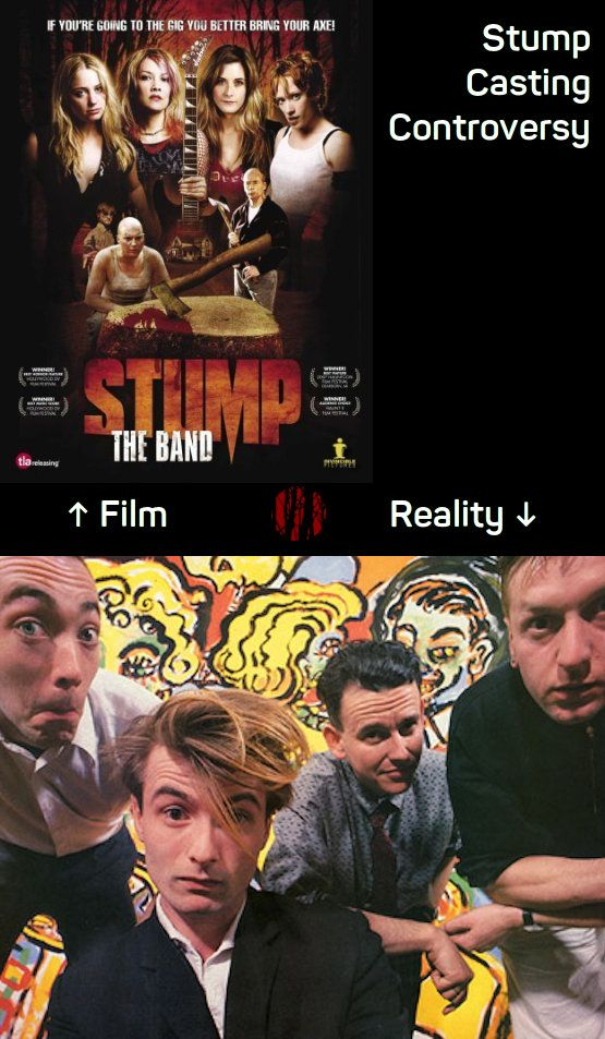 Comparison of attractive young ladies in the film 'Stump, The Band' and the entirely unrelated not quite so attractive chaps from 1980s Irish band Stump.