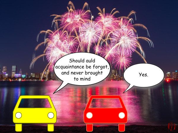 "Two cars are stopped by a bay watching a fireworks display over a city and one quotes from Robert Burns Old Lang Syne ""Should auld acquaintance be forgot, and never brought to mind"" to which the other interjects, ""Yes""."