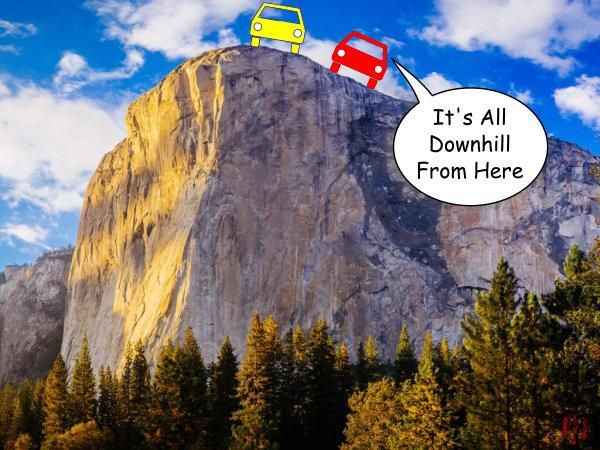 """A cartoon car says to another whilst stopped at the cliff's edge, """"It's all downhill from here""""."""