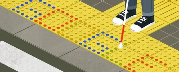 Part of a Google animated doodle showing the feet and stick of a visually impaired person on the textured lined and dotted tiles of a tenji block, the latter of which has the word Google written out as on an old digital clock rdisplay.