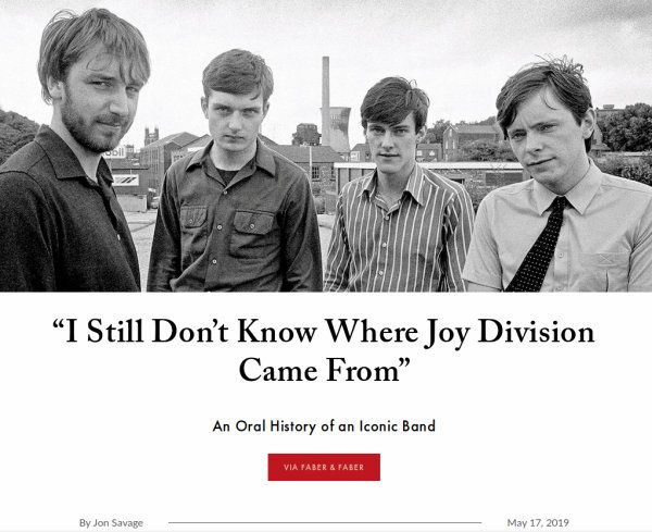 Screen capture of a quote saying, 'I still don't know where Joy Division came from' which probably wasn't about geography.