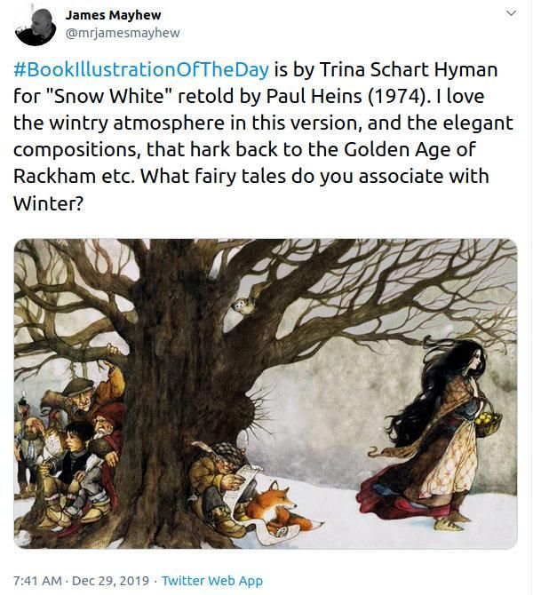 A Tweet showing an illustration of Snow White & The Seven Dwarfs with someone who looks a bit like Mick Fleetwood of Fleetwood Mac fame standing in the mid distance.