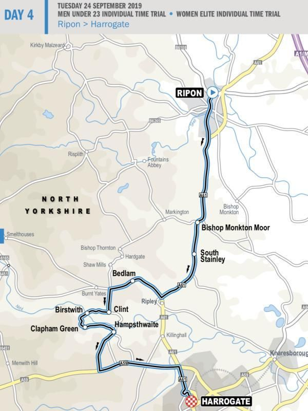 A map of the route of the time trials in Yorkshire which passes through the town of Bedlam