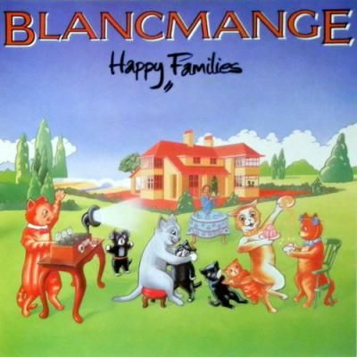 The cover of the Blancmange album Happy Families with cartoon cats having what looks to be some sort of party in in front of their modern, but rather large, house set in country surroundings