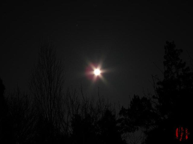 Very bright moon on Vernal Equinox.