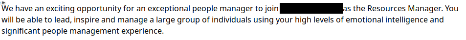 An advert for a job in which variations on the word manage are used five times in two sentences