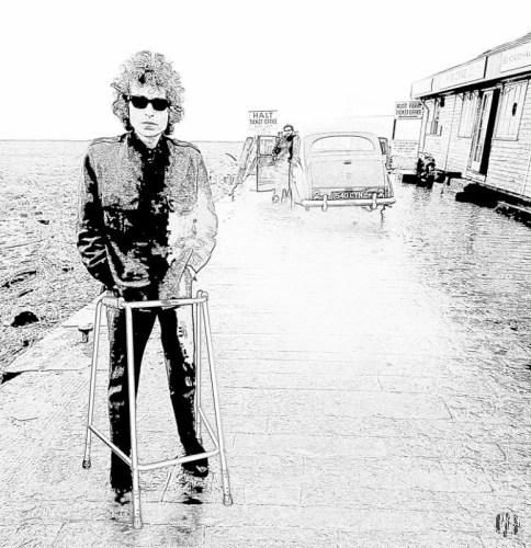 Realistic style cartoon rendering of Boby Dylan stood with his car at Aust waiting to catch a ferry across the River Severn. Plus the less realistic addition of a zimmer frame in front of him
