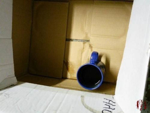 A coffee mug hidden in a cleaning chemicals box.