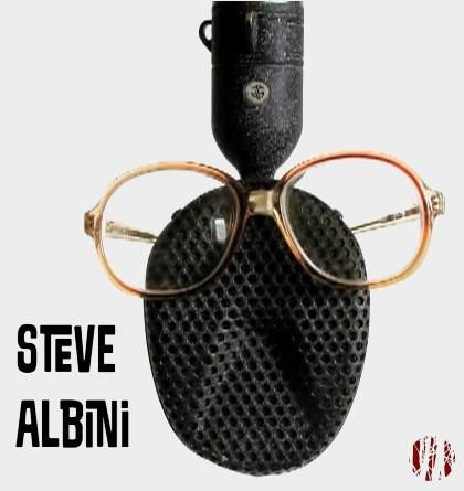 Coles 4038 ribbon microphone of 1950s design favoured by Steve Albini for recording electric guitars. With glasses added to the microphones roughly face shape and Steve Albini in jaunty text.