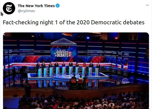 A Tweet announcing and linking to, 'Fact-checking night 1 of the 2020 Democratic debates'.