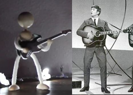 Picture of one of the stick figures that take the place of the band in the video plus a photo of John Lennon from 1963 in a similar bow legged pose holding his guitar