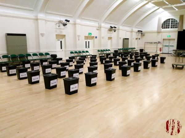 Rows of ballot boxes awaiting collection for the European Elections which have followed only a few weeks after the local elections.