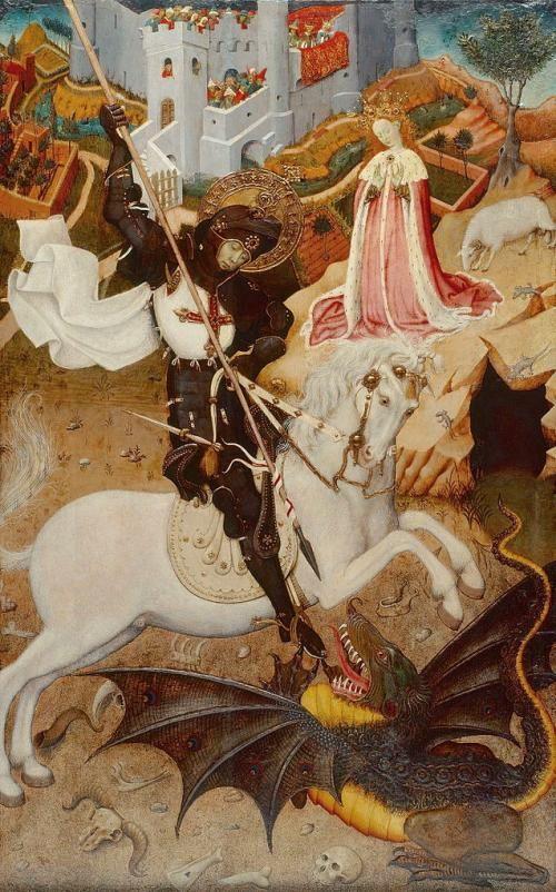 Painting by Bernat Martorell of St.George killing a dragon, the bastard.