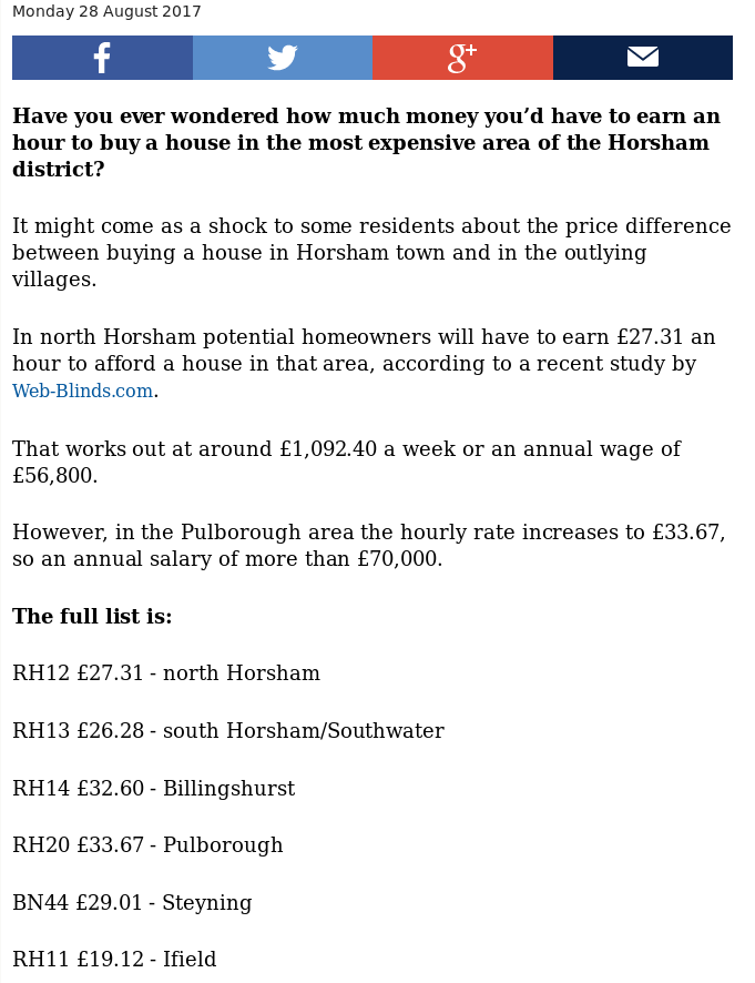 Screen capture from the West Sussex Country Times showing how much you would need to earn to buy a house in the Horsham area ranging from £26 to £33 an hour.