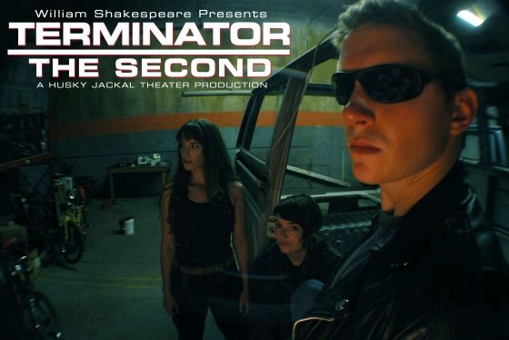The protaginists from Terminator The Second grouped around a jeep.