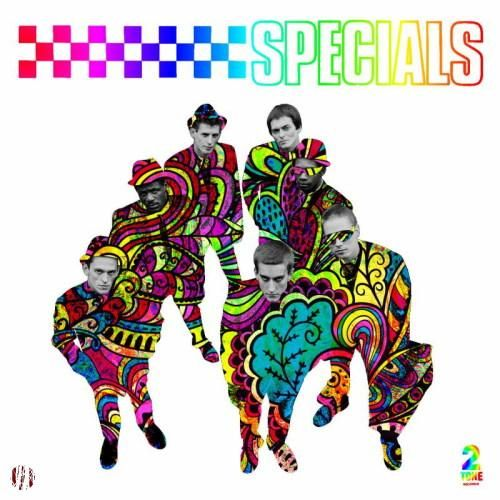 The cover of the originally black and white specials album of logo and band looking up at camera, coloured in with hints of psychedelia