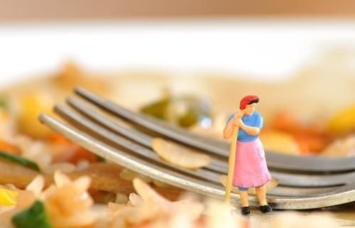 A tiny Mrs Mop model next to a fork on a plate of rice and bits.