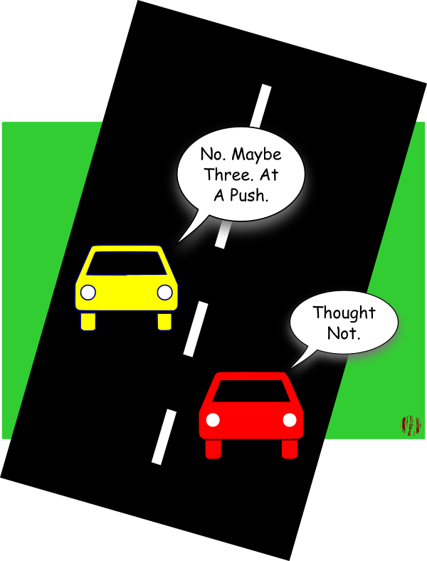 """The first car from the image above then admits, """"No, Maybe three miles. At a push"""".."""